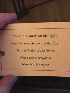 Baby shower candle favor poem