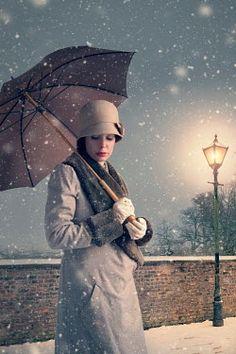 Lee Avison VINTAGE WOMAN WITH UMBRELLA IN SNOW Women Romance, Umbrellas Parasols, Book Jacket, Art Pages, Vintage Ladies, Vintage Woman, The Outsiders, Raincoat, Snow