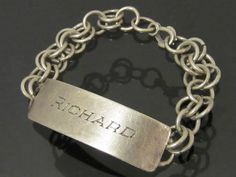 Antique Sterling Silver Engraved RICHARD ID by wandajewelry2013