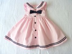 Pink and black baby sailor nautical dress, 12 months. Sleeveless, empire-waist, square sailor collar and a little black bow in the front. Baby Outfits, Toddler Outfits, Kids Outfits, Dresses Kids Girl, Little Girl Dresses, Baby Girl Fashion, Kids Fashion, Trendy Fashion, Nautical Dress