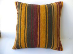 """Stripe Rug Pillow Cover,20""""x20"""" inch Handwoven Decorative Turkish Kilim Rug Pillow Cover,Big Size Pillow,Ethnic Pillow,Kilim Cushion Cover."""