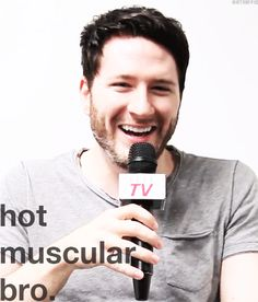 His reaction when someone asked him if he was a hot muscular bro.