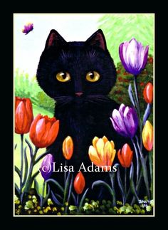 Black Cat Tulips Wall Art 5x7 Canvas Print of Painting Creationarts Flowers #OutsiderArt