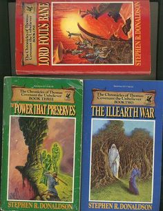 The Chronicles of Thomas Covenant The Unbeliever Series (3 Vol. Set; Lord Foul's Bane; The Illearth War; the Power That Preserves) by Stephen R Donaldson, http://www.amazon.com/dp/B00171F5TC/ref=cm_sw_r_pi_dp_mfA7qb0322G1Y