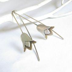 Small Lotus Earrings, Mixed Metal Earrings, Bronze And Sterling Silver Earrings, Drop Earrings, Metal Flower Earrings, Contemporary Earrings