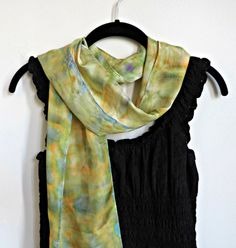 Hand-painted Silk Scarf in Yellow and Light Green | Fashion Accessory | DivineNY.com