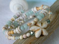 Beachy Amazonite and Jasper Memory Wire One of A by Seyshelles