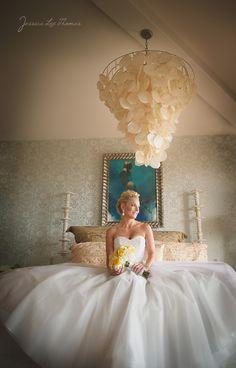Chandelier + princess bride + amazing bridal suite= awesome. :-)     Parent's House, Dana Point, California    Wedding Photographer: Jessica Lee Thomas www.photographybyjessicalee.com