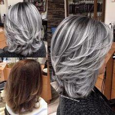 silver hair streaks, silver/gray colored hair, medium length