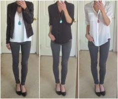outfits con pantalon gris