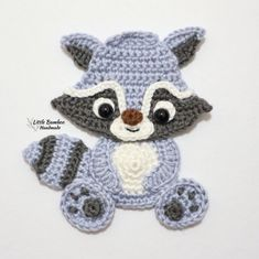 PATTERN- Woodland Animals Applique Set-Raccoon, Squirrel, Skunk and Moose - Crochet Pattern, pdf Crochet Applique Patterns Free, Crochet Motifs, Crochet Appliques, Crochet Amigurumi, Crochet Toys, Crochet Crafts, Crochet Projects, Motifs D'appliques, Confection Au Crochet