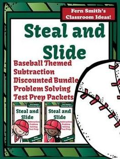 Discounted Bundle of Steal and Slide - Baseball Themed - Subtraction With Regrouping AND No Regrouping Test Prep Presentation and Printables #TPT $Paid