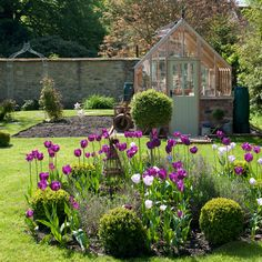 Landscaped country garden with purple tulips and greenhouse # country Gardening Easy garden ideas – simple updates to transform your outdoor space Back Gardens, Outdoor Gardens, Small Gardens, Cottage Garden Design, English Country Gardens, Garden Shrubs, Garden Shade, Landscaping Plants, Garden Plants
