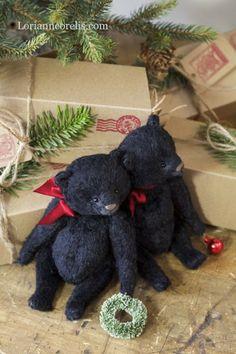 Little black bear Christmas ornaments - (rustic, country Christmas decor)