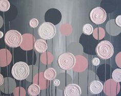 Pink and Gray Modern Flower Painting Acrylic por MurrayDesignShop