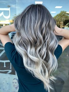 Silver balayage by Silver Blonde Hair, Silver Hair Highlights, Brunette Hair, Fall Highlights, Long Brunette, Brunette Color, Hair Color Purple, Hair Color And Cut, Hair Dye Colors