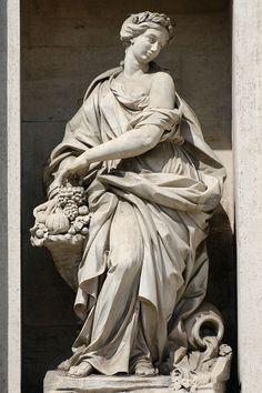 Abundance by Filippo della Valle. Trevi Fountain, Rome.
