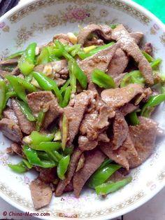 Chinese Pork Liver Fried Green Chilli. www.china-memo.com #recipe