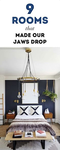 Love the navy wall behind the bed - it would look so good with a carved white wood Moroccan headboard