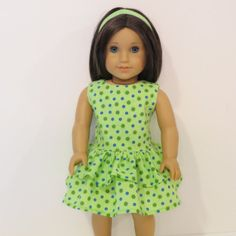 American Girl Doll Clothes  Lime Green and Blue by AmericAnnMade, $14.00