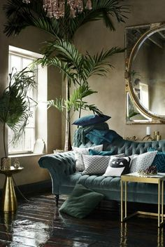 ▷ 1001 + captivating interior art deco ideas to recreate at home - art nouveau art deco, blue sofa, large round mirror, small coffee table - Bold Living Room, Art Deco Living Room, Living Room Green, Living Room Interior, Living Room Furniture, Living Room Designs, Art Deco Room, Turquoise Living Rooms, Tropical Living Rooms