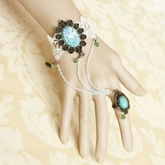 Gothic Style Plant Pattern & Tassel Design Tiny Beads Lace Bracelet With Ring