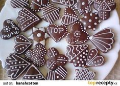 Perníčky naší Haničky recept - TopRecepty.cz Gingerbread Cookies, Christmas Cookies, Biscotti, Sugar, Candy, Chocolate, Food, Ginger Bread, Patterns