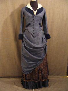 1890 dark blue gown.