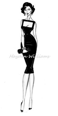 #Hayden Williams Fashion Illustrations  #Iconic Women collection by Hayden Williams: Liz