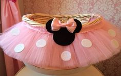 Medium Minnie Mouse Themed Tutu Basket, Birthday Tutu Gift Basket, Baby Shower Basket,  Tutu Easter Basket, Newborn Photo Prop Basket on Etsy, $38.00