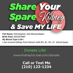 Save Me, Save My Life, O Blood Type, Kidney Donor, Text Me, Medium, Healthy, Campaign, Content