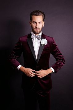 Men New Maroon Velvet Black Lapel Wedding Tuxedo Suits Jacket Blazer Coat Pants