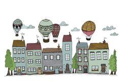 Häuser und Ballons, Illustration loretta cosima, www. Illustration, Paper Mill, Nice Asses, Illustrations