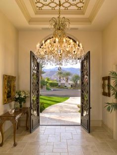 Make a lasting impression with striking modern lighting in the entryway or foyer. With an entryway or foyer light fixture, you can accomplish a lot in a relatively small space and provide a warm we… Front Door Entryway, Entry Foyer, Entryway Ideas, Front Doors, Entry Doors, Grand Entryway, Big Doors, Entrance Ideas, Front Entry