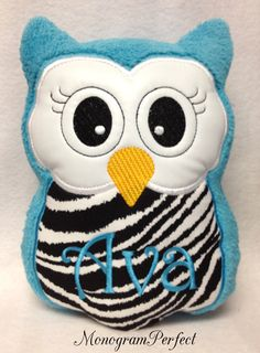 Personalized Monogrammed Plush Owl Pillow Soft by MonogramPerfect, $24.95