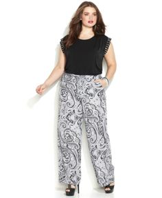 Michael Michael Kors Plus Size Printed Wide-Leg Soft Pants- #PlusSize #DEAL Michael Kors Sale at Macys +Extra Off #code