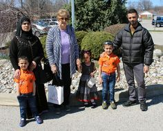 A Syrian refugee family has been brought to Sarnia through the Lambton Presbytery United Church Refugee Committee, which has partnered with local Presbyterian churches and Lambton College. Jaber Al Mudeer, right, his wife Houda Alzoubi, their six-year-old son Odai and four-year-old twins Mohammad and Nour landed in Sarnia Tuesday. (Terry Bridge/Sarnia Observer/Postmedia Network)