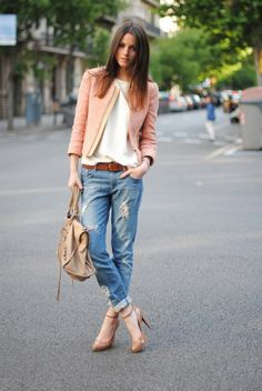 blush blazer or tweed jacket, boyfriend jeans, loose tee, heels --28 Amazing Street Style Combinations for Fall
