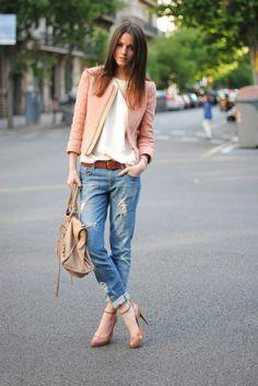 blush blazer or tweed jacket, boyfriend jeans, loose tee, heels --28 Amazing Street Style Combinations for Fall