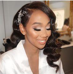 Pin on weddings be like Bridal Makeup Looks, Bride Makeup, Wedding Hair And Makeup, Bridal Beauty, Wedding Beauty, Wedding Hair Accessories, Hair Makeup, Black Bridal Makeup, Black Brides Hairstyles