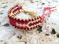 Gold and Red Warm Friendship Bracelet, Red friendship bracelet