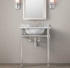 RH's Gramercy Metal Powder Washstand Sink:Custom sinks that balance classic style and modern flair.