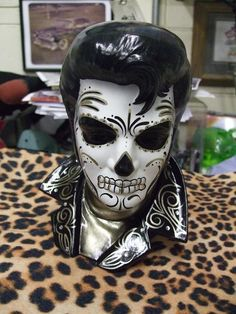 Rockabilly Day of the Dead Ceramic Bust. $90.00, via Etsy.