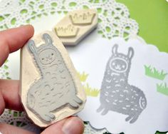 Hand-carved llama stamp set, available at http://www.etsy.com/shop/MemiTheRainbow