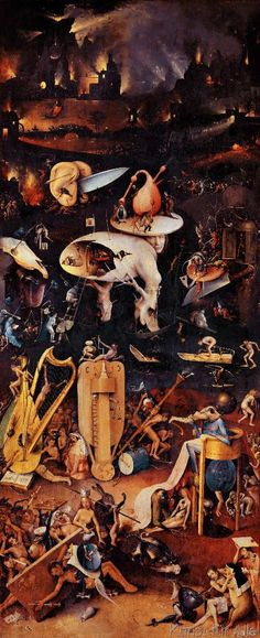 Hieronymus Bosch The Garden of Earthly Delights Hell. Bosch depicts a world in which humans have succumbed to temptations that lead to evil and reap eternal damnation. The tone of this final panel strikes a harsh contrast to those preceding it. Art Prints, Classic Art, Garden Of Earthly Delights, Renaissance Art, Hieronymus Bosch, Painting, Hieronymous Bosch, Triptych, Art History
