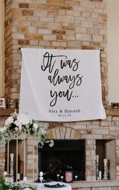 It Was Always You Wedding Decoration Sign | Wedding Tapestry Ideas #weddingtapestry #weddingbanner #receptiondecor Tropical Wedding Dresses, Tropical Wedding Decor, Wedding Ceremony Backdrop, Wedding Reception Decorations, Decor Wedding, Summer Wedding Guests, Backdrop Stand, Always You, Nashville Wedding