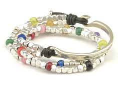 Boho Wrap Bracelet Beaded Double Strand Women Leather Bracelet, Colorful Beaded Bracelet, Unique Gifts for Women Boho Jewelry for Her