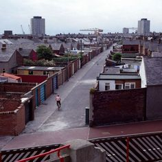 Ripon Street back lane, viewed from the Roker End. Sunderland England, Sunderland Afc, Nostalgic Pictures, Victorian Buildings, North East England, Football Stadiums, Historical Pictures, Newcastle, Liverpool