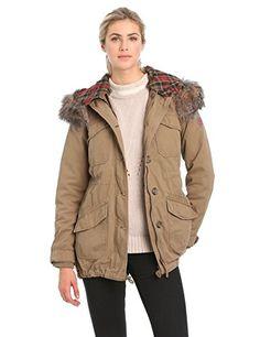 edc by ESPRIT Women's Plaid Fur Trimmed Hood Parka Coat: Amazon.co.uk ...