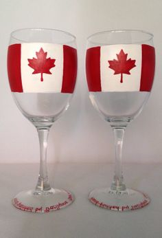 Items similar to Canadian Flag Wine Glasses (Set of on Etsy Paint And Drink, Painted Wine Glasses, Canada Day, Hand Painting Art, Cricut, Flag, Hand Painted, Unique Jewelry, Craft Ideas